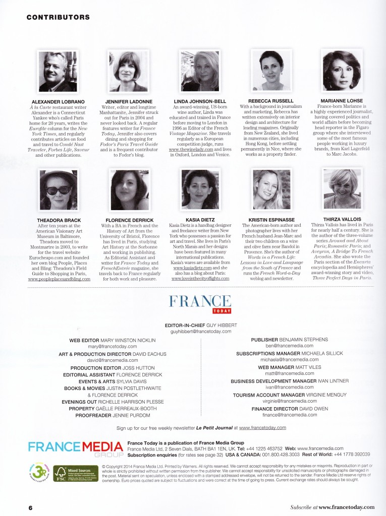 France Today-Contributors page